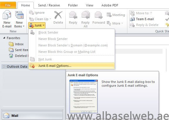 Change the level of protection in the Junk Email Filter of